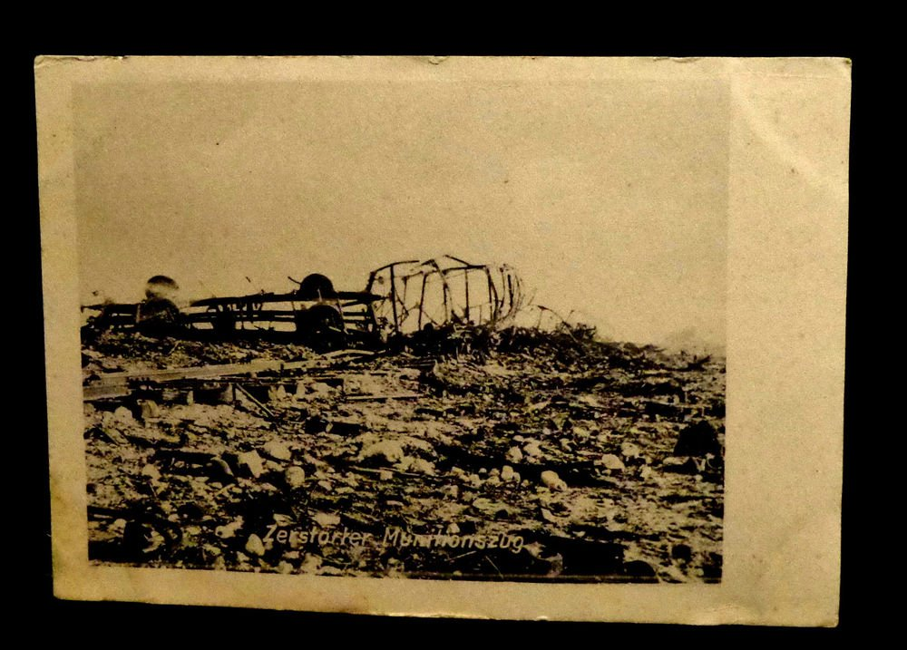 World War I Real People Postcard  Wrecked Biplane Unused Divided Back