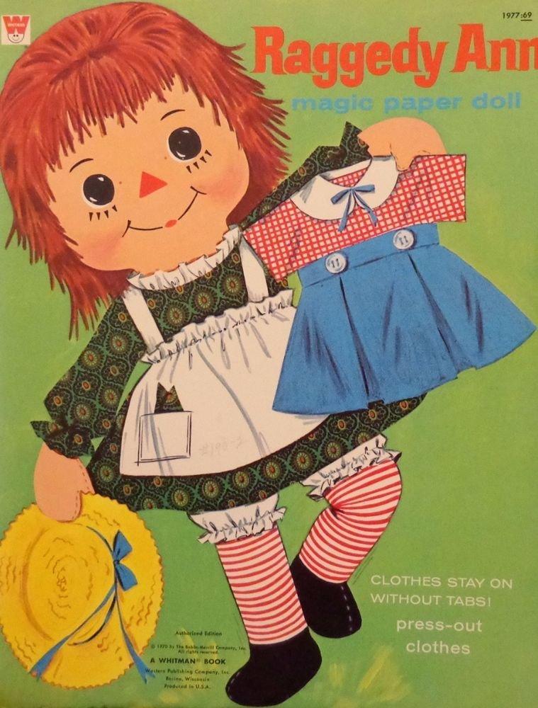 1970 Whitman Raggedy Ann Magic Press-Out Paper Dolls 50+ pieces Used Uncut