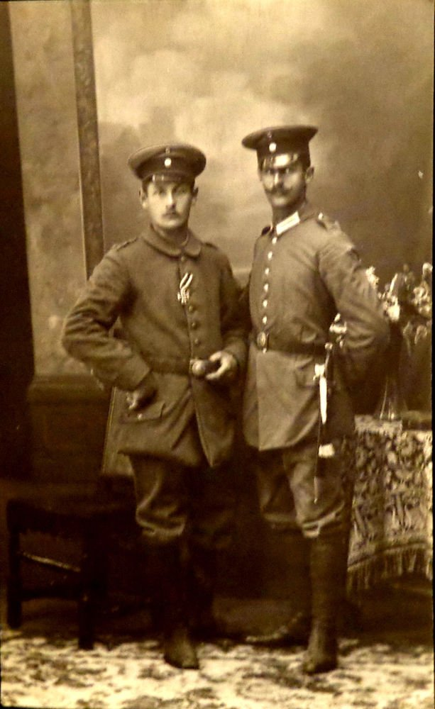 World War I Real People Postcard Two German Soldiers One Has Iron Cross