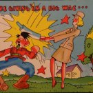 """World War II Postcard """"We're Giving 'Em a Big Wac"""" Linen Unposted  Wac & Hitler"""