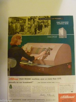 1958 NCR Post-Tronic Machine First Wisconsin National Bank,Milwaukee IL Print Ad