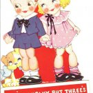 Vintage Childrens Valentine~Cute Blonde Girl,Boy,Puppy Dog~2's Company,3's Crowd