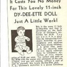 Tiny 1938 Vintage Print Ad for Effanbee Dy-Dee/ette Baby Doll~1930s
