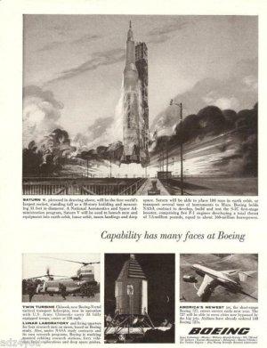 60s Vintage Boeing 727 Airline ad~ NASA Program Saturn V Rocket Lunar Orbit Lab