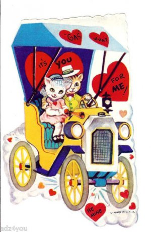 Vintage Childrens Valentine Card~Kitten Kitty Cats in Old Jalopy Car~Gas What