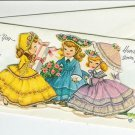 Unused Vintage Get Well Greeting Card~Victorian Girls~Glitter~Parasol~Present
