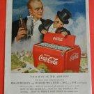 50s Dummy Charlie McCarthy Edgar Bergen CBS Red Coca Cola Bottle Cooler Print Ad