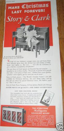 Story & Clark Piano Ad/Advertisement~Children Practicing~Storytone 1950's
