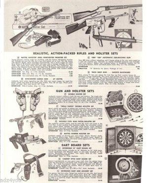 Mattel Shootin' Shell Winchester,Fanner,Wells Fargo,Nichols Etc Toy Guns Ad Page