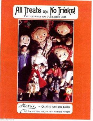 2002 Matrix Antique Dolls Ad Page~Raggedy Ann,Andy,Golliwogg/Golliwog/Gollywog