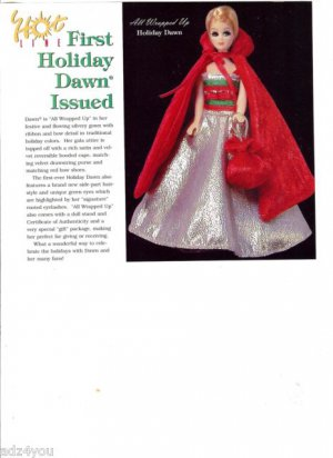 2001 First Ever Holiday Dawn doll in Red Satin Hooded Cape Magazine Ad/Article
