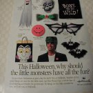 1991 Hallmark Halloween Monsters Print Ad~Frankenstein,ghost,bats,devil-ish grin