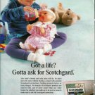Scotchgard Ad~Got a life? Girl with Doll & Teddy Bear