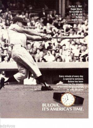 1987 Vintage Print Ad~Roger Maris 1961 #61 Homerun/Home Run Bulova Watch Time
