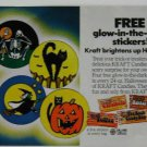 1984 Kraft Candy Glow-In-The-Dark Stickers Print Ad~Black Cat,Witch,Skelton,etc