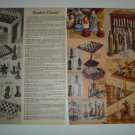1974 Vintage Ad Pages for Classic Chess Sets/Games~King Arthur,Henry,Staunton,+