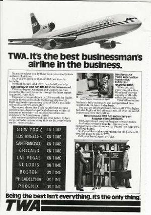 1976 Vintage TWA (Best Businessman's Airline) Print Ad/Advertisement~1970s