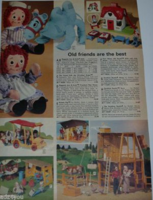 1977 Vintage Raggedy Ann/Andy,Mattel Sunshine Family Dolls Catalog Ad Page~1970s