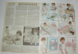 1960 Vintage A.C.Toodles & TINY TEARS Doll/Accessories Catalog Ad Pgs~1960s