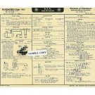 1961 LINCOLN Eight Auto Tune-Up Chart '61