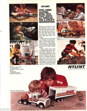 1977 Nylint Trucks Print Ad~Safe,Long Lasting Steel Toys Serve as Vehicles for..