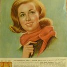 1963 Vintage BRECK Shampoo Beautiful Hair Ad~Pretty girl with Red Scarf~1960s