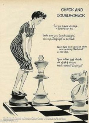 1952 Sanforized Ad Pg~Chess Board & Game Pieces Theme