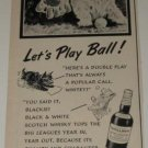 1954 Black & White Scottie Dog Ad~Let's Play Ball! ~50s