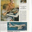 1960s Vintage Boeing 707 Jet Print Ad~Ann Cockburn & Daughter First Flight~1961