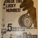 1964 U.S. Royal Bicycle Tires N.Y.World'sFair/Disneyland Trip Contest Prizes Ad