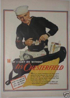 1943 Chesterfield Cigarette Ad ~ U.S. Sailor~WWII Era