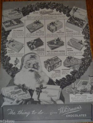 1930s Whitman's Sampler,Glo-Wyn,Prestige,Fairhill,Penn Wynne Chocolates Candy Ad