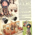 1975 Vintage Holly Hobbie & Heather Rag Dolls & Doll House Catalog Ad Page~Cute!