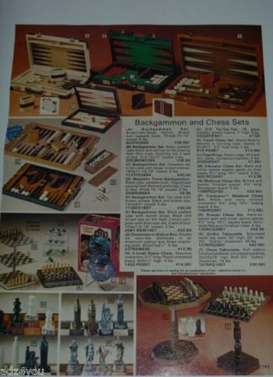 '70s Vintage Ad Page for Classic Backgammon & Chess Sets/Games~3-Level,Medieval