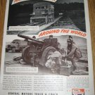 1942 WWII Wartime GMC Trucks Ad Page~U.S.Artillery unit~Iceland~105 mm Howitzer