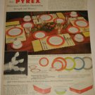 1954 Pyrex Dinnerware Ad~Flamingo,Lime,Turquoise,Gray