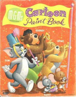 Old Vintage M-G-M Cartoon Paint/Color Book~Tom&Jerry~Barney~Spike~Tuffy~Loew's