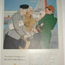Old 1951 American Airlines Flagship Print Ad~Grandparents Up in the Air~1950s