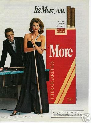 1983 More Cigarettes Ad~Pretty Lady/Man/Pool/Billiards