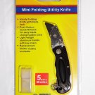 4'' FOLDING UTILITY POCKET LOCK BACK SAFE CUTTING KNIFE WITH 5 EXTRA BLADES