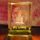 CRYSTAL PAPERWEIGHT WITH STATUE OF LIBERTY INSIDE A BIG APPLE...WORDS BIG APPLE