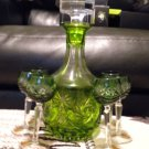 EXQUISITE NACHTMANN'S GREEN CRYSTAL DECANTER WITH 6 MATCHING LIQUEUR GOBLETS