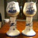 "AUTHENTIC PAIR OF 6"" DELFT BLAUW TULIP SHAPED CANDLE STICKS MUST LOOK"