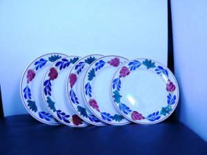 5 BEAUTIFUL BOERENBONT salad PLATES....SOME USE CAN BE SEEN