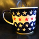 "AUTHENTIC POLISH POTTERY COFFEE MUG. 4"" X 4 1/4"" RED/WHITE/BLUE STAR PATTERN @@"