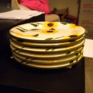 6 SUNFLOWER DESERT PLATES******GREAT FOR DAILY USE OR SPECIAL*****