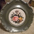 BEAUTIFUL W. GERMAN SILVER COLORED PLATE WITH ROSE TILE IN SIDE..KOZIOL CO