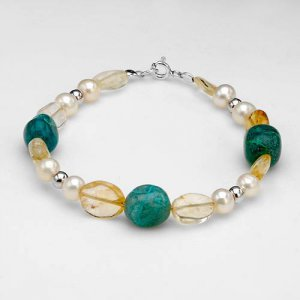 Sterling silver bracelet with 6mm Freshwater Pearls, Jasper and Citrine
