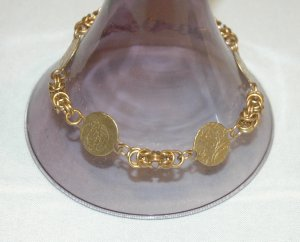 Solid Brass Byzantine Chainmaille Bracelet
