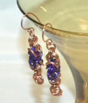 Copper & Purple Chainmaille Earrings